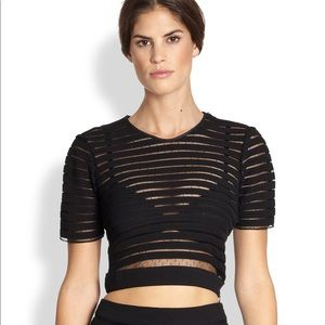 Cynthia rowley crop top black with mesh.